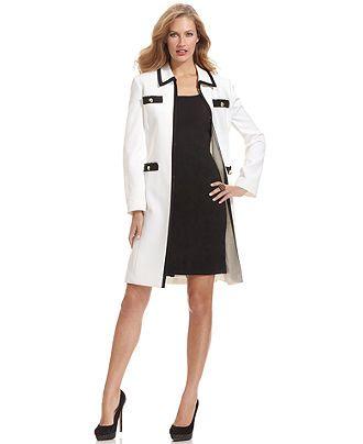 Tahari by ASL Suit- Contrast-Trim Long Jacket &amp- Sheath Dress ...