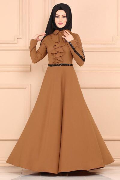 Modaselvim Elbise Onu Firfirli Elbise 81660bn105 Taba Basortusu Modasi Moda Stilleri Musluman Modasi