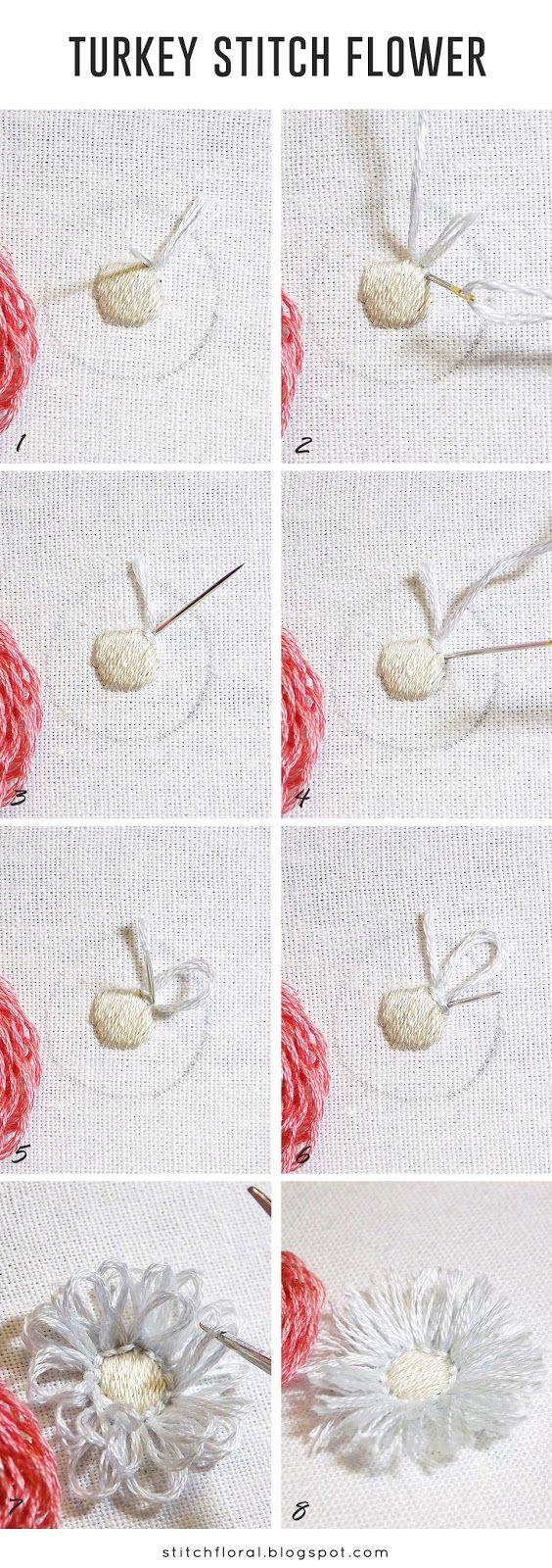 Looped blanket & turkey stitch flowers tutorial   Stitch Floral ...