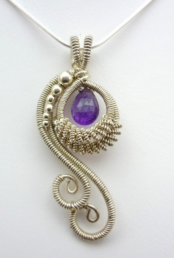 Amethyst Peacock Wire Wrapped Pendant