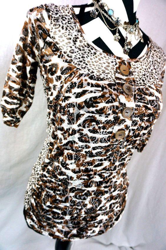 Daytrip Top M Size Medium The Buckle Bke Burnout Leopard Print Womens Shirt #Buckle #Blouse #Casual
