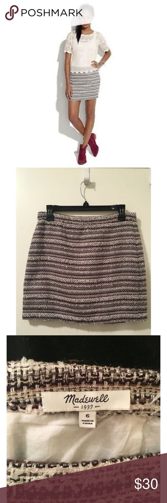 "Madewell Tweed Mini Skirt A sophisticated nubby stripe gets the rock-star treatment with a short hem and an extra-fringy finish. Doesn't have tags but never worn.  Short, straight mini 16"" long Poly/acrylic/nylon Fully lined Hidden center back zip w/ hook & eye Import Madewell Skirts Mini"