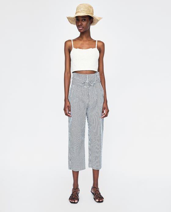 pantalon zara femme rayure