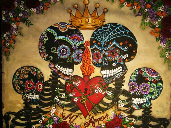"""Commissioned Painting by Artist Kerry C. 48"""" x 60"""" acrylic on Canvas www.facebook.com/sugarskullshoppe"""