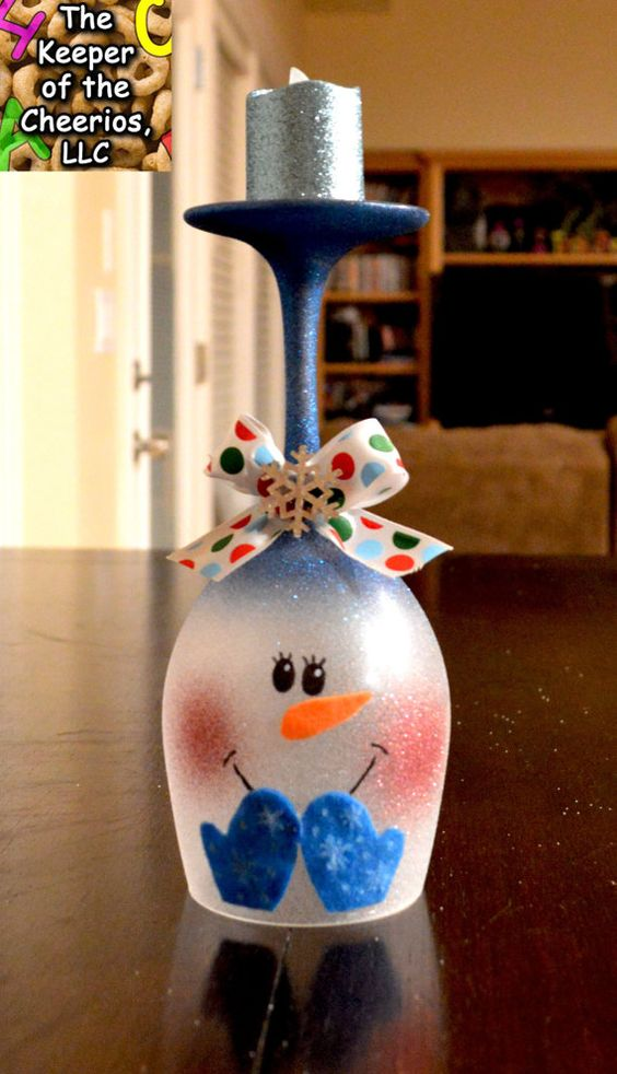 Snowman wine glass candle holder pick 1 glasses wine for Wine bottle candle holder craft