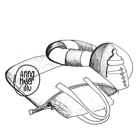 Shared by annamoserillu #madewithpaper #enclavedepod (o) http://ift.tt/1XrYfaS. towel baby bottle and zipper #365doodleswithjohannafritz @byjohannafritz returned on my desk. jetzt bin ich wieder zurück an meinem Zeichentisch deshalb heute 3in1.
