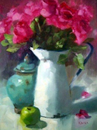 Karen Burns - South African artist  Original Oil on canvas - Roses