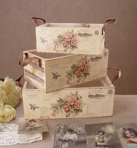 Cajas Madera Decoupage Como Decorar Cajas Cajas Decoradas Caja De Fresas Decorada