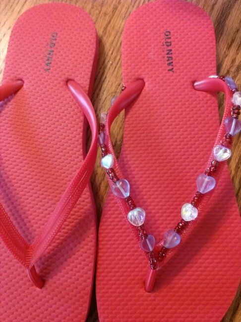 4th of July red beads with blue and white heart flip flops