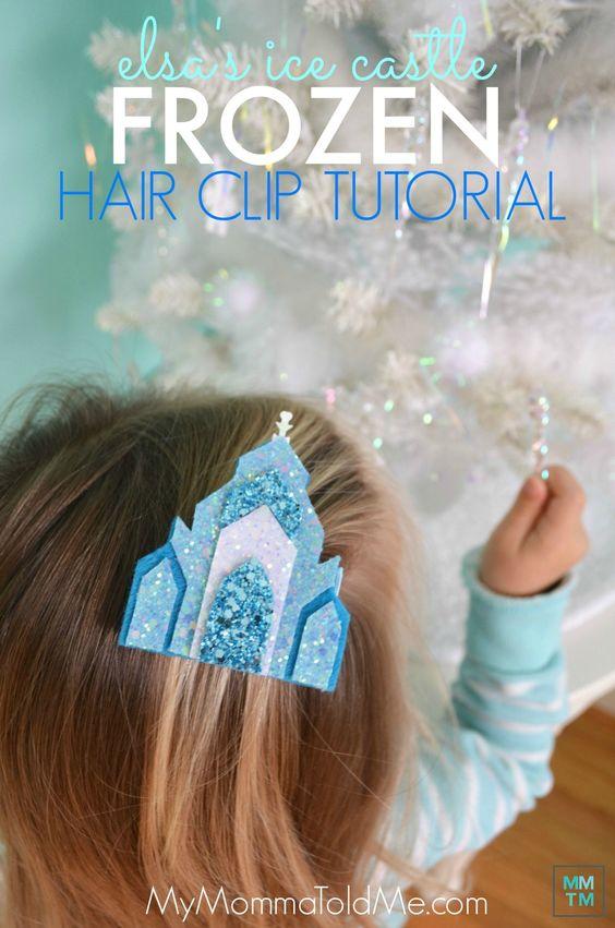 Elsa's Castle Hair Clip tutorial free template Felt Frozen Castle Disney Frozen craft Frozen Christmas present idea