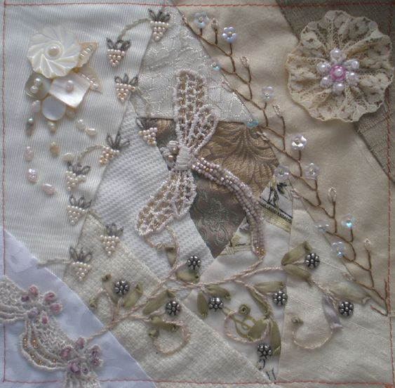 I ❤ crazy quilting, beading & embroidery . . . CQI tone-on-tone DYB RR,  Ritva's Block ~By dianesm: