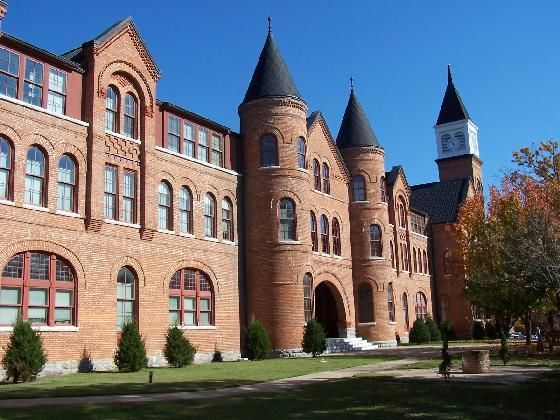 Seminary Hall at Northeastern State University ~ Built in 1889, the Cherokee Female Seminary serves as the centerpiece of Northeastern State University, located in Tahlequah. The building looks like a giant brick fortress.