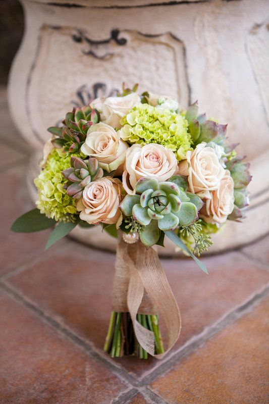 Rustic bridal bouquet. Roses, hydrangea, and succulents ...