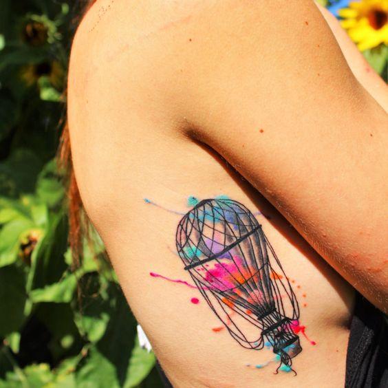 New Watercolour hot air balloon Tattoo !!  Red Dragon Tattoo Parlour, Toronto.   By Samina