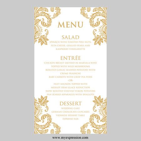 Menu Cards Wedding Menu Wedding Menu Cards Gold Cards Card Templates