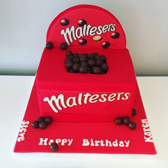 Malteasers box cake with malteasers buttercream