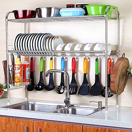 Amazon Com 2 Tier Sus304 Stainless Steel Adjustable Dish Drying