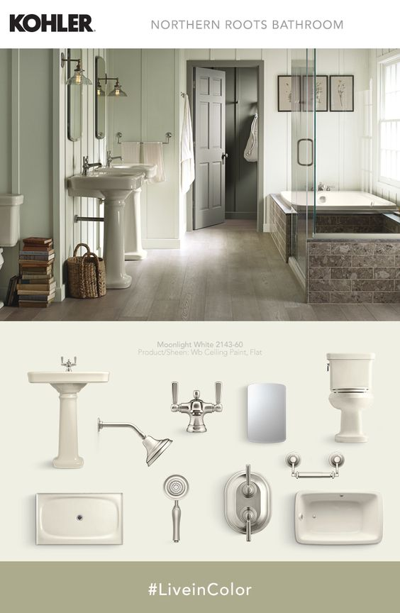 Softer complementary shades accent almond fixtures for a - Decorating with almond bathroom fixtures ...