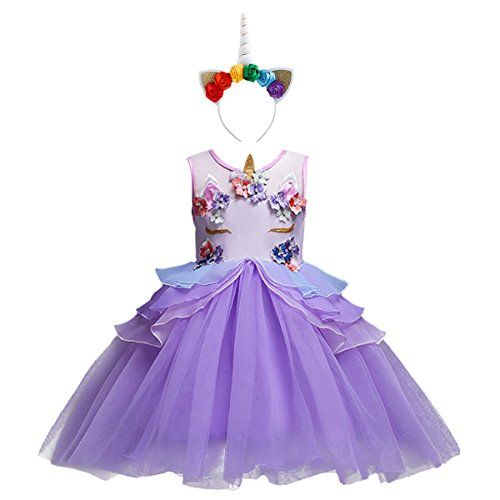 Girls Unicorn Fancy Dress Baby Kids Birthday Party Wedding Gown Cosplay Costume