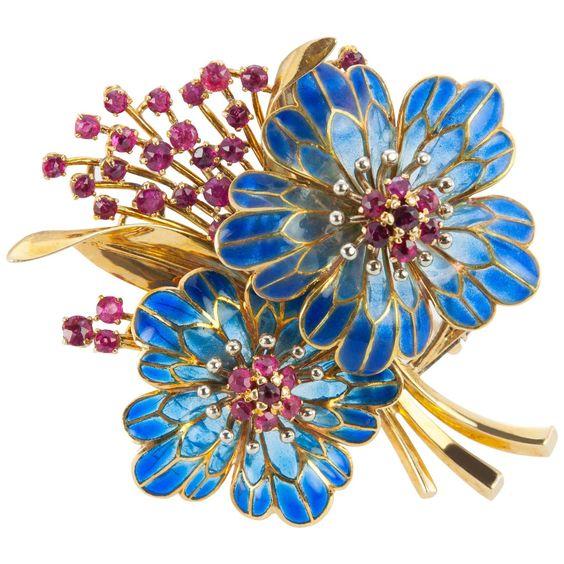 1960s Floral Plique-à-Jour Ruby Gold Brooch
