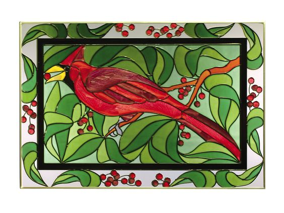 Cardinal with Berries Stained Glass Panel 20.5 X 14