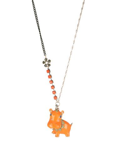 Betsey Johnson Orange Hippo Long Necklace. So cute!