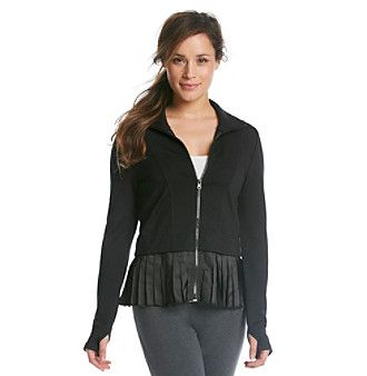 Product: Calvin Klein Performance Pleat Ruffle Hem Ponte Jacket