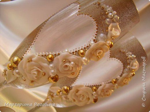 Декор предметов Свадьба Лепка Свадебные бокалы три пары Пластика фото 3