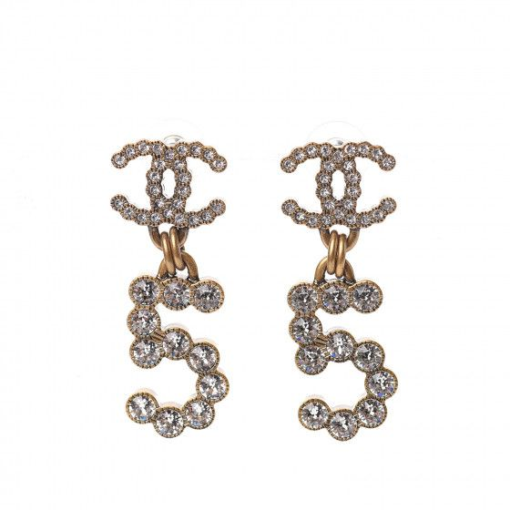 Chanel Crystal City Of Light Cc Drop Earrings Gold In 2021 Drop Earrings Earrings Gold Drop Earrings