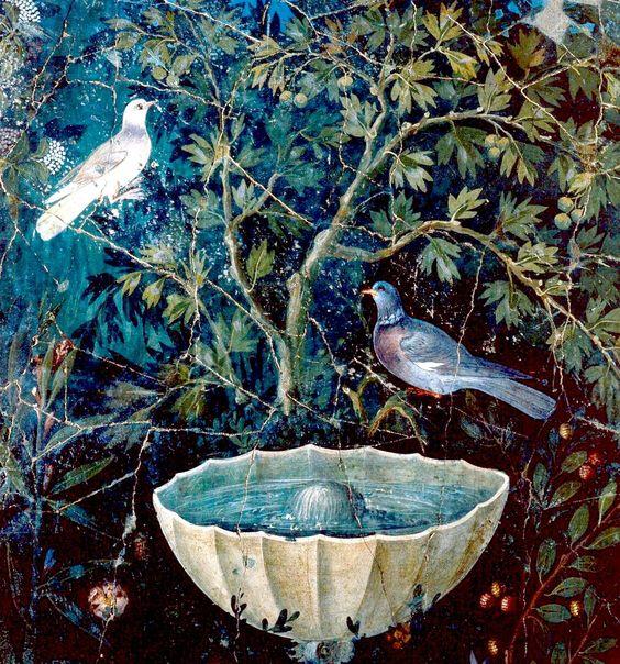 Fresco, garden painting with two birds, Pompeii.
