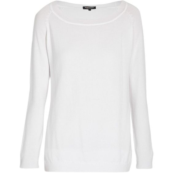 Morgan Long sleeve lace trim white sweater ($38) ❤ liked on Polyvore featuring tops, sweaters, off white, sale, white sweater, lace trim top, white long sleeve top, long sleeve jumper and white jumper