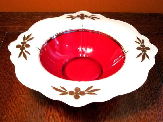 Art Deco Glass Moderne Classic Bowl Red White Plantinum #IndianaGlassCo