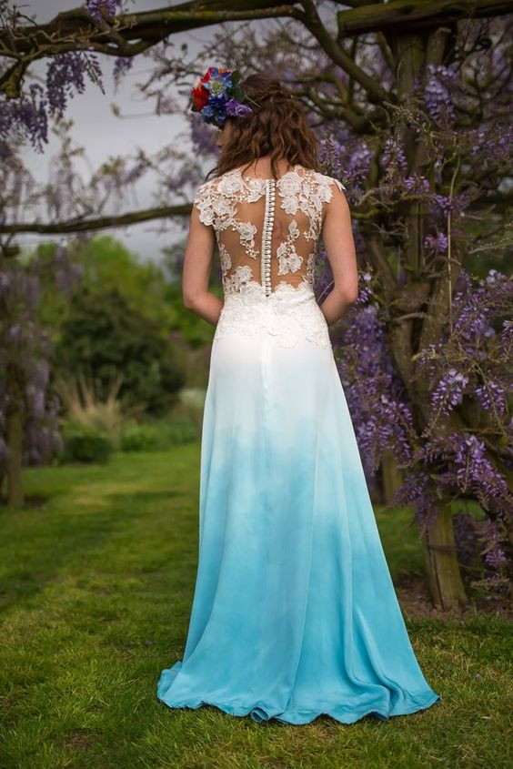 blue dip dye wedding dress lace top with illusion back. lots of beautiful buttons running down the back. Perfect for you boho loving brides: