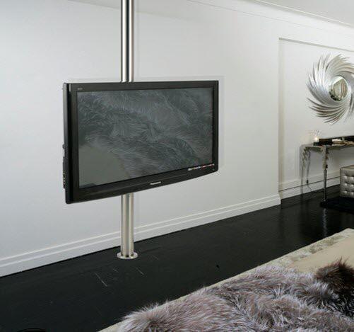 Support Tv Sur Pied Contemporain Pivotant Sol Plafond En Acier Inoxydable Col 3md6v4 Seri Stylu Pied Tv Idees Pour La Maison Support Tv