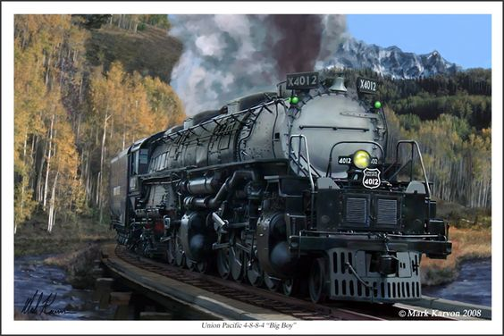 "The Union Pacific railroad was constantly in search of more powerful locomotives to pull it's long and heavy freight trains through the heavily graded mountain passes of the Rockies. One answer to that search was the articulated locomotive known as ""Big Boy"". With a wheel arrangement of 4-8-8-4, ""Big Boy"" was one of the largest and most powerful steam locomotives ever built."
