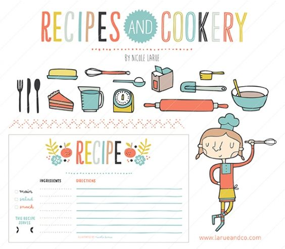 This would make for adorable branding for a cooking blog. Love the hand drawn feel and the color palette of salmon, lime, aqua and gray.