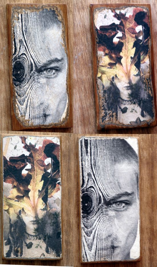 I love the fact that these paintings have been done on wood, even though you can see the erosion within the planks, i think it makes the piece more textured