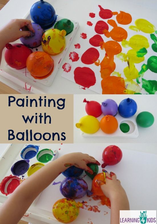 Painting with balloons circles for kids and sensory for Balloon ideas for kids