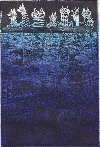 Yuko Hosaka. Cats on the river... would also like to figure out how to make a quilt like this...