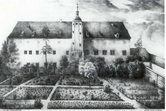 Rear of Martin Luther's home in Wittenberg, Germany: from an 1826 lithograph. It was known as the Black Cloister, even though it was never black.  It housed the Order of Augustinian Monks and was given to Luther when the order was disbanded after the reformation.  It is huge; three stories and 26 bedrooms!  The Luther's ran a rooming house for other professors and students: