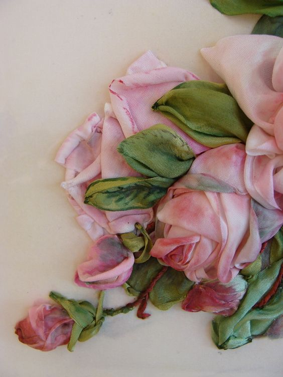 Silk ribbon roses and leaves embroidery by tatiana