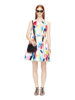 watercolor fit and flare dress - Kate Spade New York