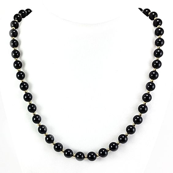 Black Beaded Necklace Monet Vintage 30 inch Strand Gold Tone Spacers n667