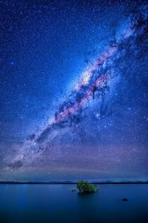Milky Way Galaxy looming over Wilson Beach in Australia