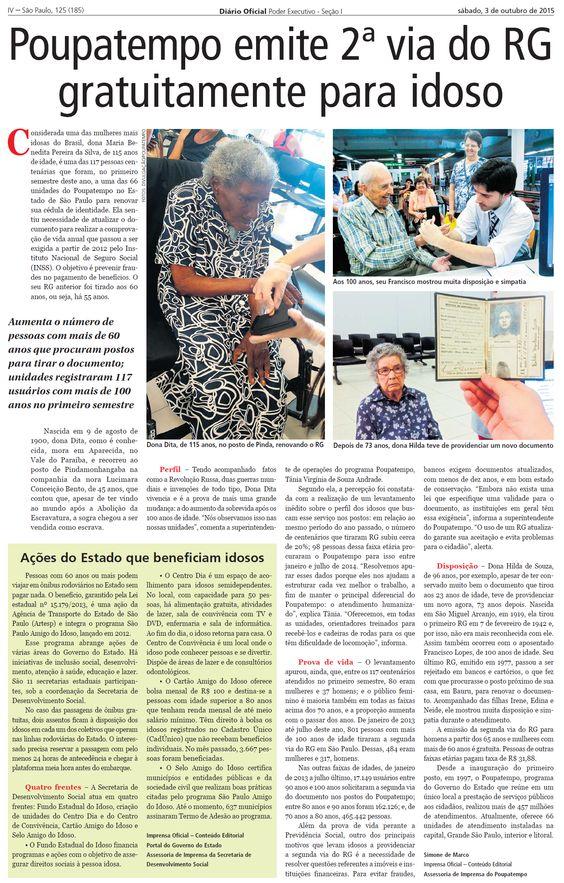 Aumenta o número de pessoas com mais de 60 anos que procuram postos para tirar a Carteira de Identidade // Diário Oficial - 03/10/2015