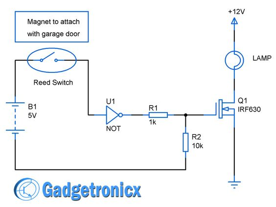 garage door lights circuit diagram using reed switch not gate mosfet simple and easy to