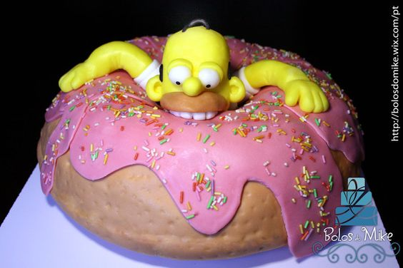 How to make a Simpsons cake. A Homer Simpon eating a donut birthday cake. Celebration cake for children and adults.