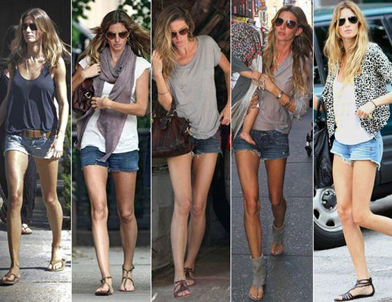 gisele bundchen jean shorts | Estilo Gisele Budchen