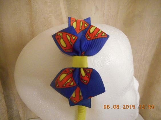 Superman  Print Hair Bow  Yellow  Headband (RTS) by yulimar1 on Etsy