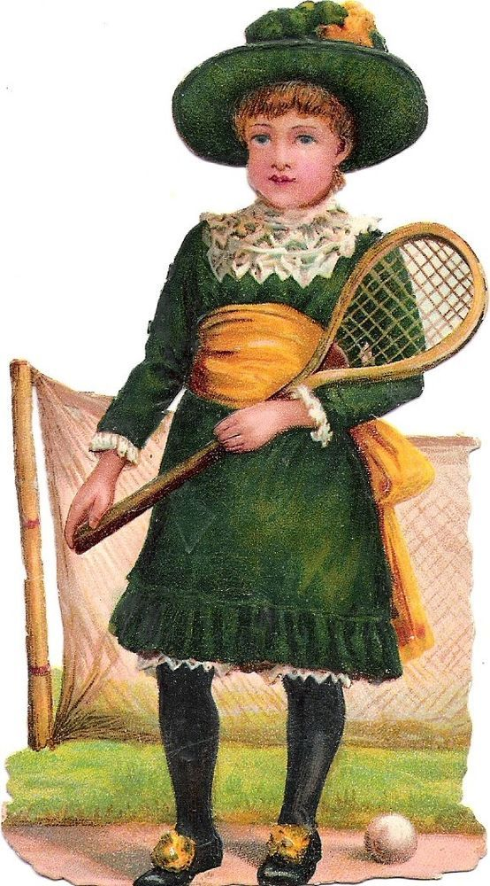 Oblaten Glanzbild scrap die cut chromo Kind  13,5cm  girl child tennis: